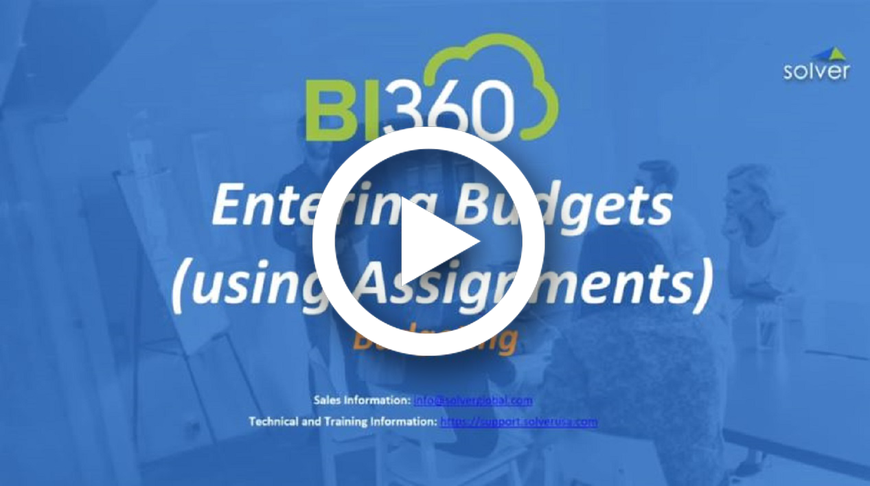 BI360 Budget Forms - End User Data Entry