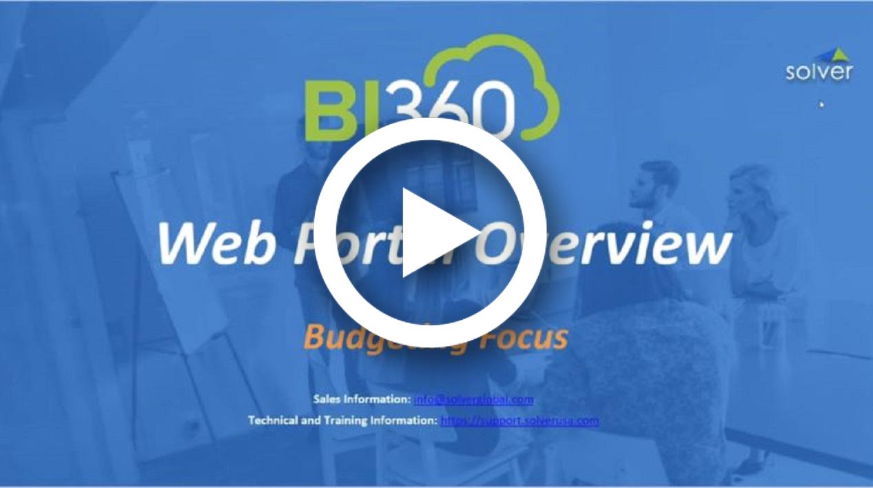 BI360 Portal Overview - Budget Focus